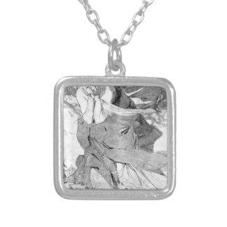 Novem by Alphonse Mucha Square Pendant Necklace