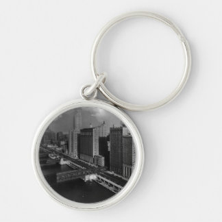 November 1939:  The city of Chicago Silver-Colored Round Keychain