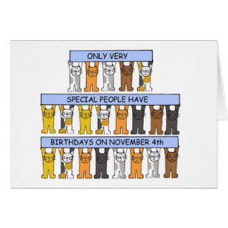 November 4th Birthdays celebrated by cats. Card