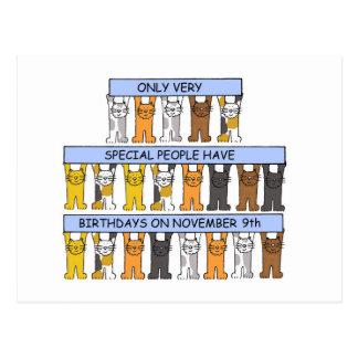 November 9th birthdays celebrated by cats postcard