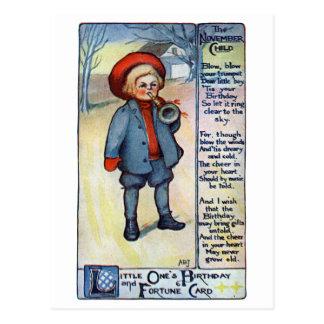 November Birthday Boy with Horn Postcards