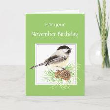 November Birthday, Chickadee, Bird card