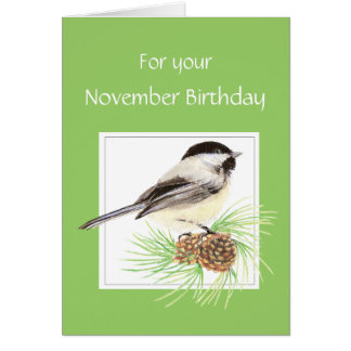 November Birthday, Chickadee, Bird Card