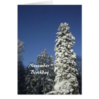 November Birthday-Snow covered Pine Card