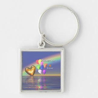 November Birthday Topaz Heart Keychain