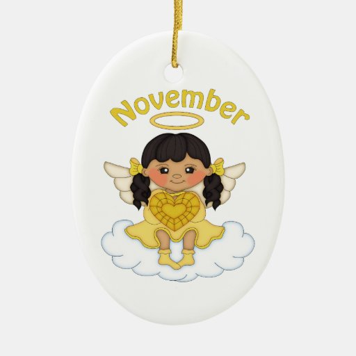 November birthstone angel black christmas tree ornament zazzle