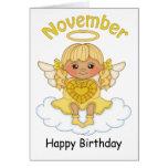 November Birthstone Angel Blonde Birthday Card