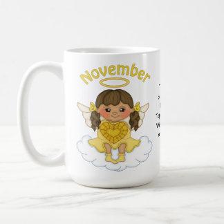 November Birthstone Angel Brunette Coffee Mug
