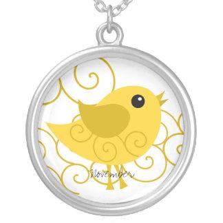 November Birthstone Bird Silver Plated Necklace