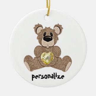 November Birthstone Teddy Bear Ornament