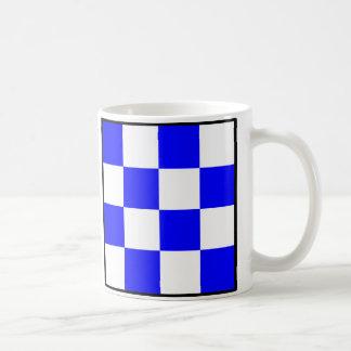 NOVEMBER Blue White Checkered Square Coffee Mug