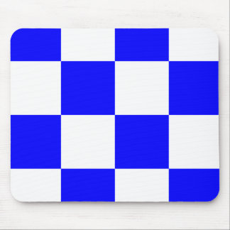 NOVEMBER Blue White Checkered Square Mouse Pad