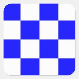 NOVEMBER Blue White Checkered Square Square Sticker