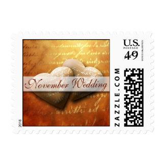 November Hearts Wedding Postage