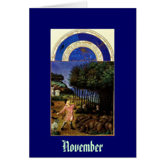 November - Les Tres Riches Heures du Duc de Berry Stationery Note Card
