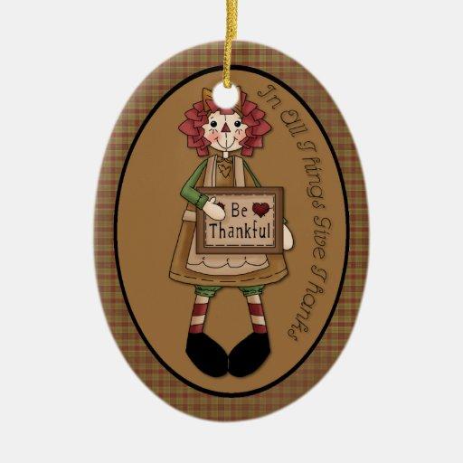 "November Raggedy Ann ""Give Thanks"" Ornament"