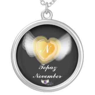 November s Birthday Gemstone Monogram Necklace
