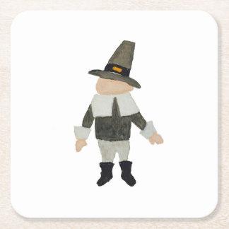 November Thanksgiving Pilgrim Puritan Toddler Boy Square Paper Coaster