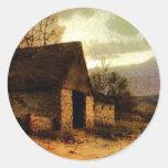 November Twilight  (1912) Barn and Fields Bookmark Round Sticker