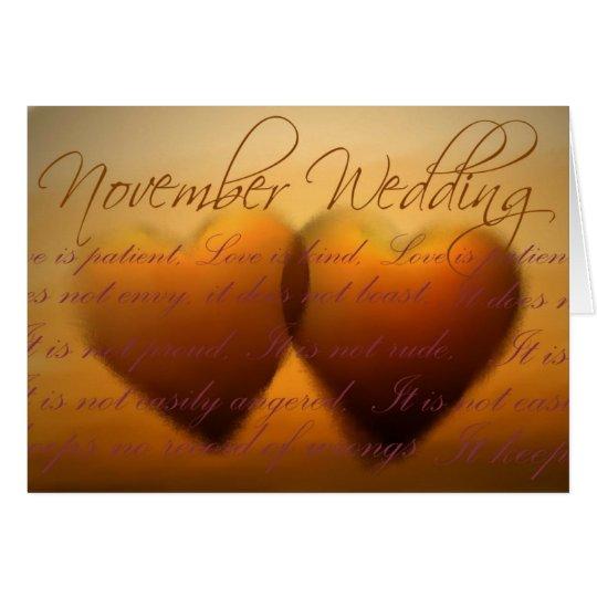 November wedding hearts card