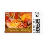 yellow roses November Wedding stamps
