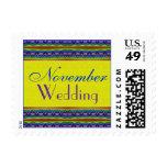 November Wedding yellow blue Stamps