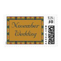 November Wedding yellow turquoise Postage
