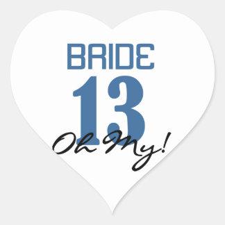 Novia 13 oh mi azul pegatina en forma de corazón