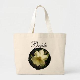 Novia blanca del tulipán bolsa tela grande
