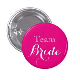Novia blanca rosada del equipo del boda pin redondo de 1 pulgada