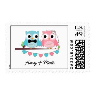 Novia, búhos del novio sellos postales