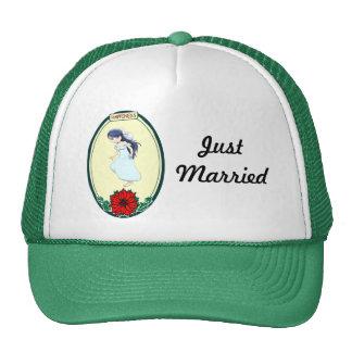 Novia, casando artículos gorras de camionero