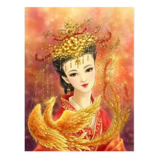 Novia china con la postal de la fantasía de Phoeni