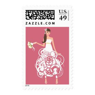 Novia con los sellos rosados del fondo
