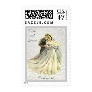 Novia de encargo del vintage, novio, casando el sello postal