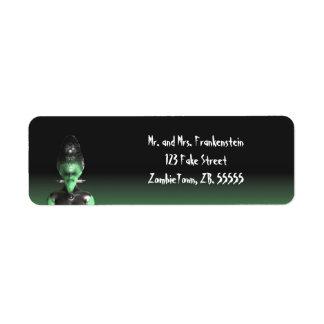 Novia de Frankenstein - las etiquetas de Halloween Etiquetas De Remite