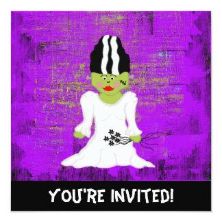 Novia de la invitación de Frankenstein Halloween