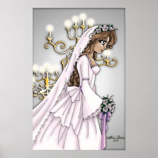 Novia de la luz de una vela - Brunette ligero Póster