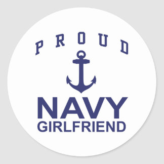 Novia de la marina de guerra pegatina redonda