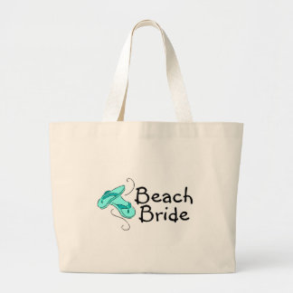 Novia de la playa (boda de playa) bolsas lienzo