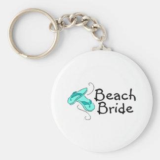 Novia de la playa (boda de playa) llavero redondo tipo pin