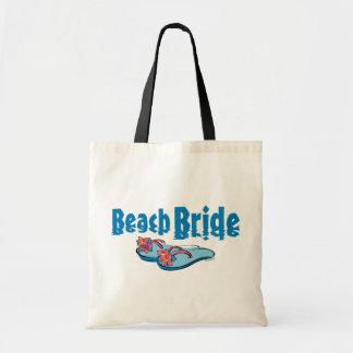 Novia de la playa de los flips-flopes bolsas