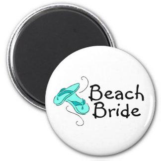 Novia de la playa (flip-flop) imán redondo 5 cm