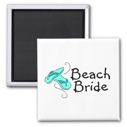 Novia de la playa (flip-flop) imán cuadrado