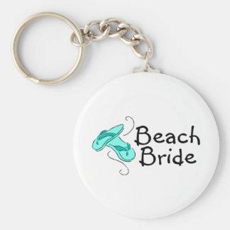 Novia de la playa (flip-flop) llavero redondo tipo pin