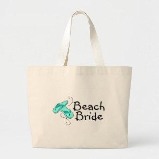 Novia de la playa (flips-flopes) bolsa tela grande