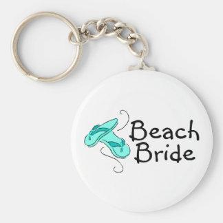 Novia de la playa (flips-flopes) llavero redondo tipo pin