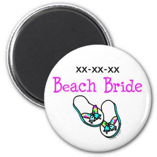 Novia de la playa imán redondo 5 cm