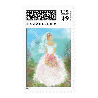 Novia de la reflexión sello postal