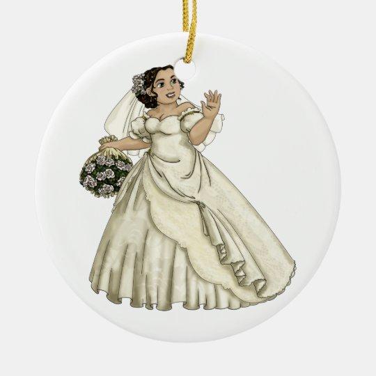 Novia de los rosas blancos adorno navideño redondo de cerámica